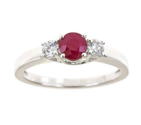 Premier 1/2cttw Round Ruby & Diamond Accent Ring, 14K Gold