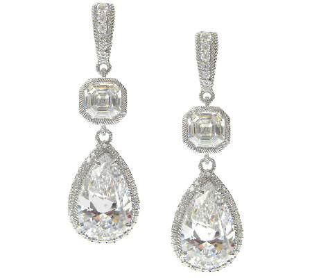 Judith Ripka Sterling Pear Diamonique Dangle Earrings