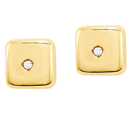 Puffed Square with Crystal Post Earrings, 14K Gold