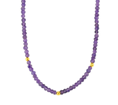 14K Gold-Plated Sterling and Gemstone  Bead Nec klace, 32""