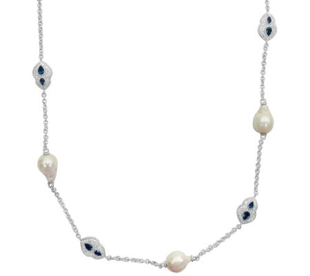 Judith Ripka 6 Pearl, London Blue Topaz & DMQ Necklace