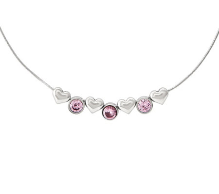 "Steel by Design Hearts & Hugs Pink Crystals 1 7-1/2"" Necklace"