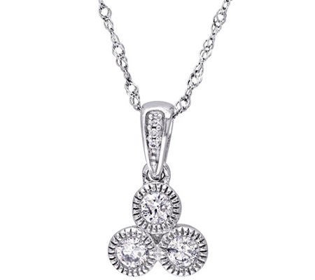 Diamond Pendant w/Chain, 14K White Gold, 1/4 cttw, by Affinit