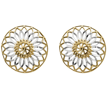 14K Gold Two-tone Flower Disk Earrings