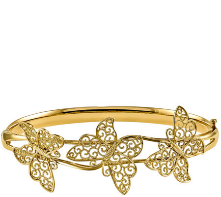14K Gold Butterfly Hinged Bangle, 9.9g