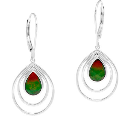 Pear Shaped Ammolite Triplet Sterling Drop Earrings