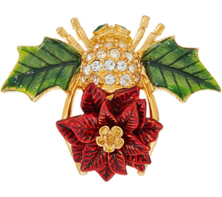 Joan Rivers Poinsettia Bee Pin