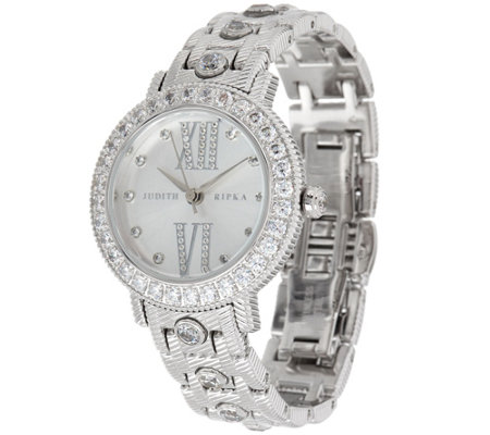 Judith Ripka Stainless Steel Bezel Set Diamonique Beekman Watch