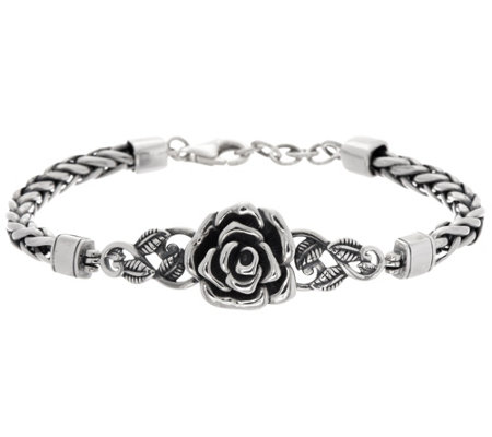 """As Is"" Sterling Silver Rose Spiga Bracelet by Or Paz 21.0g"