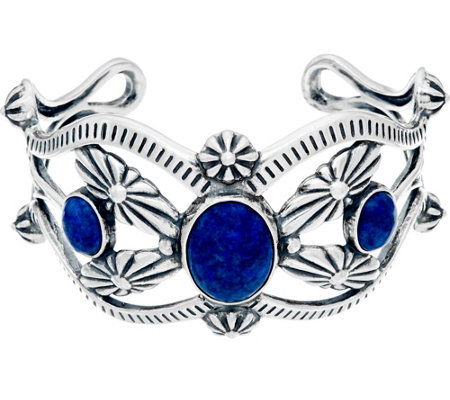 """As Is"" Sterling Silver & Denim Lapis Cuff by American West"