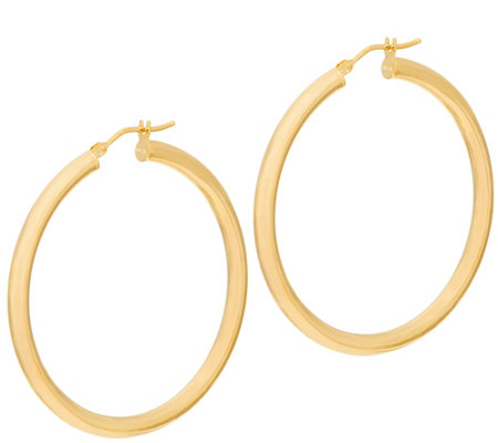 "Italian Gold 1-1/2"" Round Polished Hoop Earrings 14K Gold"