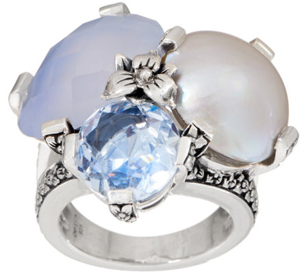 Stephen Dweck Sterling Silver Triple Gemstone Ring