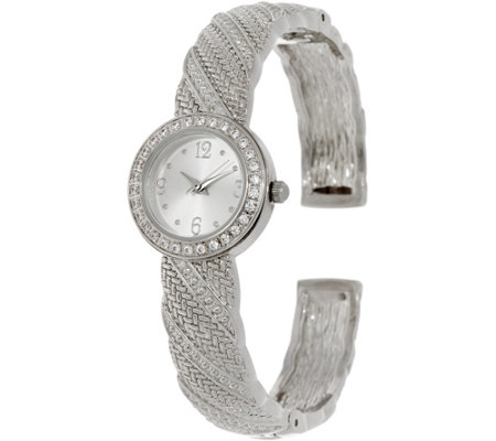 """As Is"" Diamonique Textured Bangle Watch"