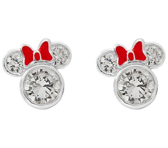 Diamonique Disney Minnie Mouse Earrings, Sterling Silver