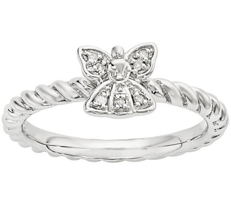 Simply Stacks Sterling Diamond Angel Ring