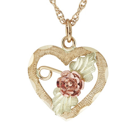 Black Hills Rose Heart Pendant w/ Chain, 10K/12K Gold
