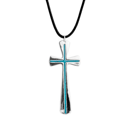 American West Sterling Gemstone Inlay Cross Pendant Necklace