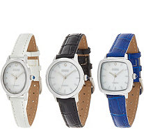 Ecclissi Facets Set of 3 Diamond Accent Watches - J388425