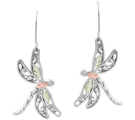 Black Hills Gold Dragonfly Earrings Sterling 12k