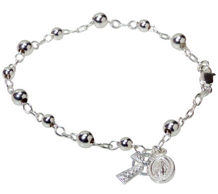 Sterling Silver Rosary Bracelet W Celtic Cross Charm Medal Page 1