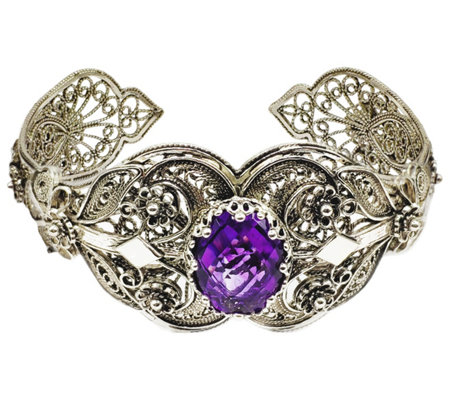 Artisan Crafted Sterling Gemstone Floral Cuff