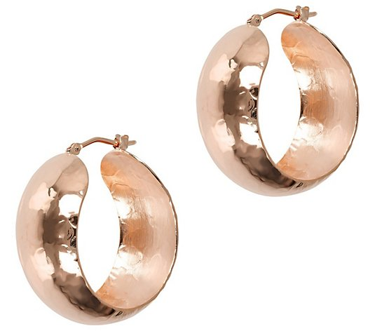 "Bronzo Italia 1-1/4"" Bold Round Hoop Earrings"