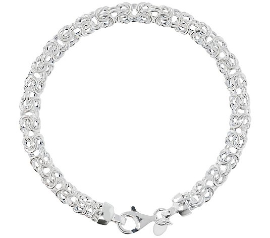 UltraFine Silver Polished Byzantine Link Bracelet