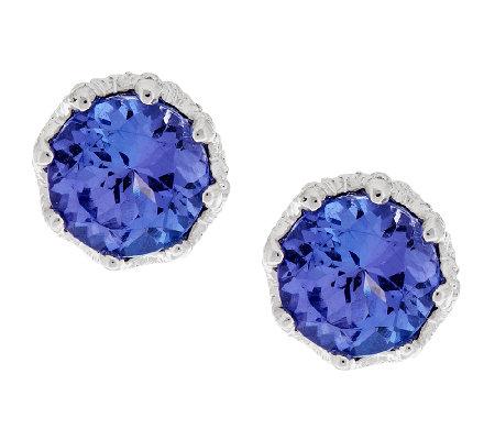 1 75 Ct Tw Tanzanite Round Sterling Stud Earrings