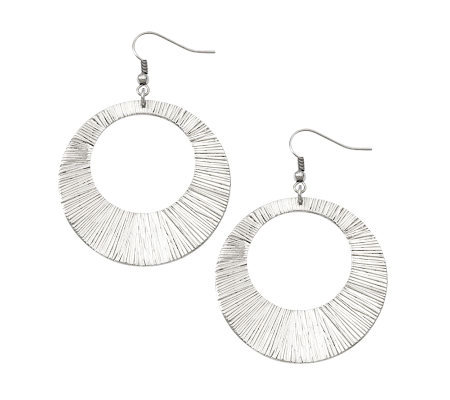 Stainless Steel Textured Circle Dangle Earrings