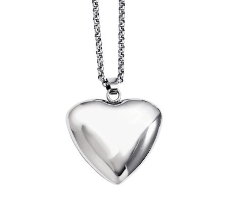 "Stainless Steel Polished Large Heart Pendant with 24"" Chain"