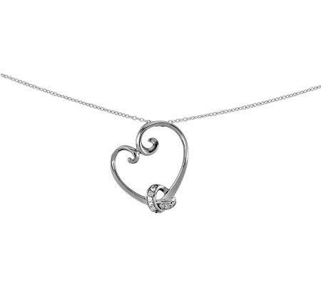"Sentimental Expressions Sterling 18"" LoveknotsHeart Necklace"