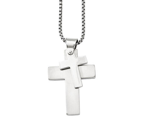 "Forza Men's Stainless Steel Double Cross Pendant w/ 24"" Chain"
