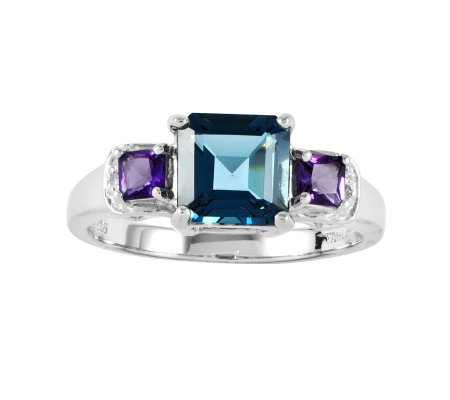 Sterling 1.90 cttw Princess-Cut Blue Topaz & Amethyst Ring
