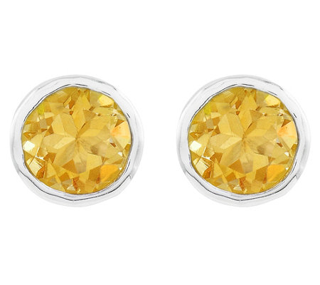 Sterling Round Gemstone Hammered Stud Earrings