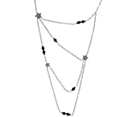 American West Sterling Silver Onyx Bead & Star 4 Strand Necklace