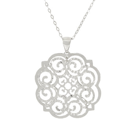 Vicenza Silver Sterling Open Work Pendant with Chain