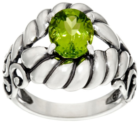 Carolyn Pollack Sterling Silver Brilliant 2.40cttw Oval Peridot Ring