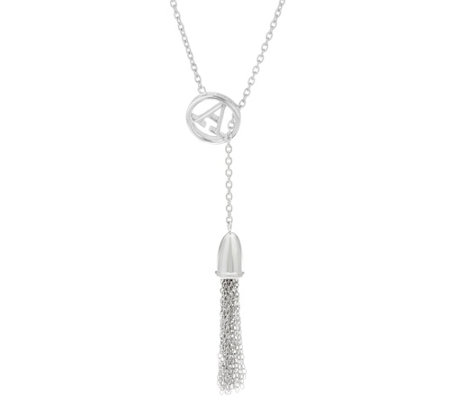 Sterling Silver Initial Lariat Tassel Necklace by Silver Style