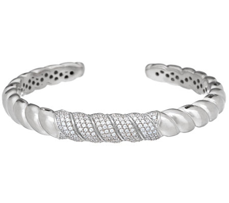 Italian Silver Sculpted Cable Crystal Cuff Bracelet, Sterling