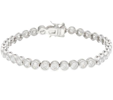 Diamonique Bezel Tennis Bracelet Sterling Or 14k Clad