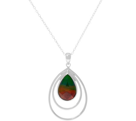 "Pear Shaped Ammolite Triplet Sterl. Pendant on 18"" Chain"