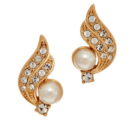 Grace Kelly Collection Simulated Pearl Crescent Earrings