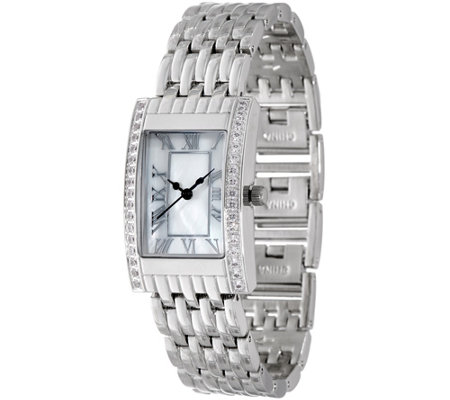 Diamonique Rectangular Watch w/ Bracelet Strap