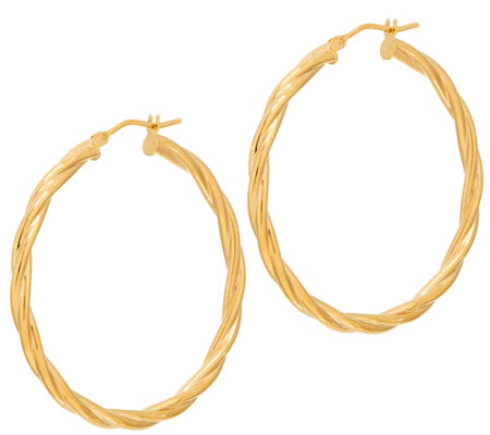 "Italian Gold 1-1/2"" Round Twisted Hoop Earrings 14K Gold"