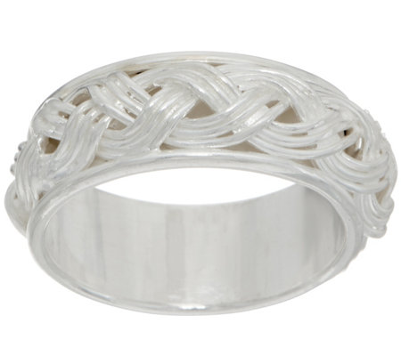"""As Is"" Sterling Silver Braided Inlay Band Ring by Silver Style"