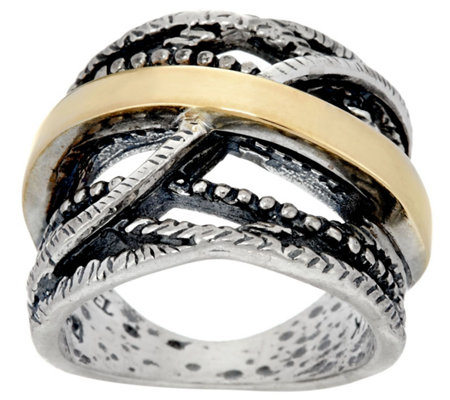 """As Is"" Or Paz Sterling Silver & 14K Gold Crossover Ring"
