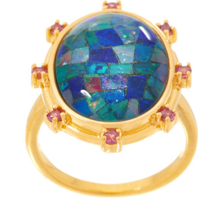 Opal Mosaic Statement Ring, Sterling Silver