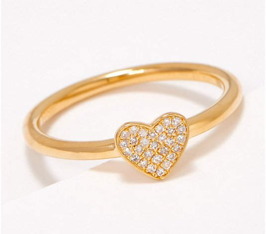 Affinity Sterling Silver Tiny Heart Diamond Ring
