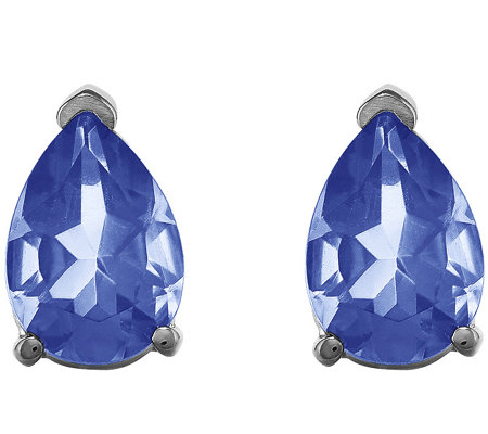 14K White Gold Pear Gemstone Stud Earrings