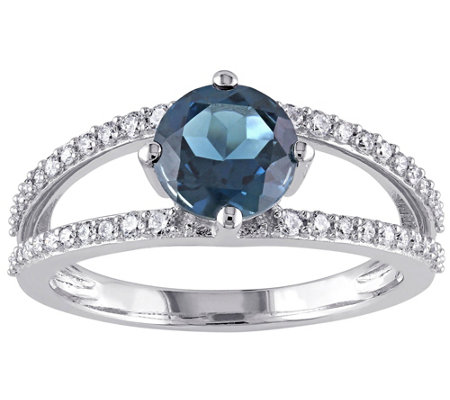 14K 1.55 ct London Blue Topaz & 1/4 cttw Diamond Ring